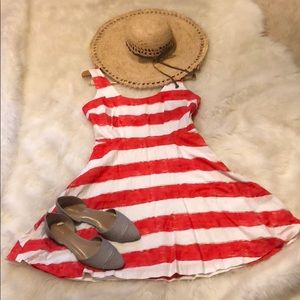 BB Dakota Red and White striped Nautical Dress